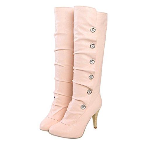 ENMAYER Mujeres PU Material Alto Talones Rodilla Alta medio-becerro stiletto nieve invierno botas Rosado