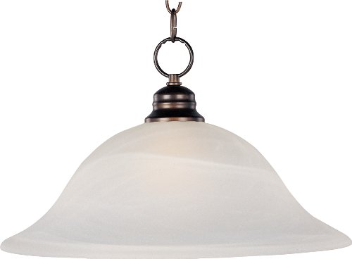 - Maxim 91076MROI Essentials 1-Light Pendant, Oil Rubbed Bronze Finish, Marble Glass, MB Incandescent Incandescent Bulb , 100W Max., Damp Safety Rating, Standard Dimmable, Glass Shade Material, 8050 Rated Lumens