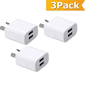 USB Wall Charger with AUS Plug, High Speed 5V/2.1A Dual Port USB Charger Plug Power Adapter for iPhoneXs/Xs Max/X /8 Plus/8/7Plus/7/6Plus/6/5S,iPad,iPod,Samsung,HTC,Xiaomi,Huawei,LG and More (3-Pack)