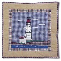 Patch Magic Lighthouse By Bay Red Toss Pillow, 16-Inch by 16-Inch