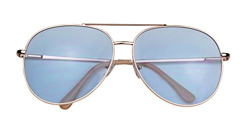 ShadyVEU - Modern Metal Frame Double Brow Bar Flat Color Tint Lens Sunglasses 55mm (Rose Gold Frame / Blue Lens, - Blue Tint Sunglasses
