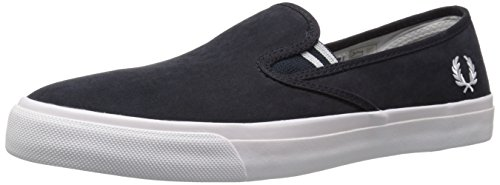 Fred Perry Men's Turner Slip on Brushed Cotton Fashion Sneaker, Navy/White, 11 UK/12 M US