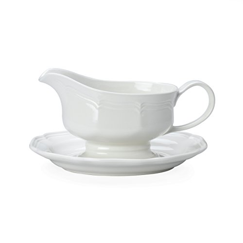 Mikasa French Countryside Blue 2 Piece Gravy Boat Set, White