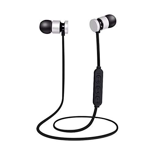 Plug-in Bluetooth Headphones Wireless Sport Metal Magnetic Suction Bluetooth Headphones Gift Silver