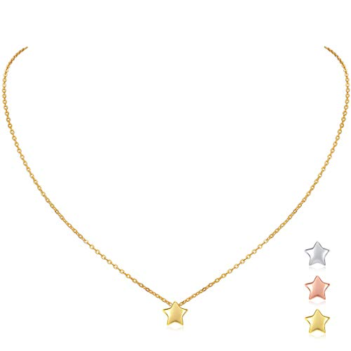 18K Gold Plated Sterling Silver Mini Star Pendant Necklace for Women Girls, 16''