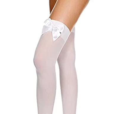Ladies Black/White Hold Up Stockings With Bows Doyeemei
