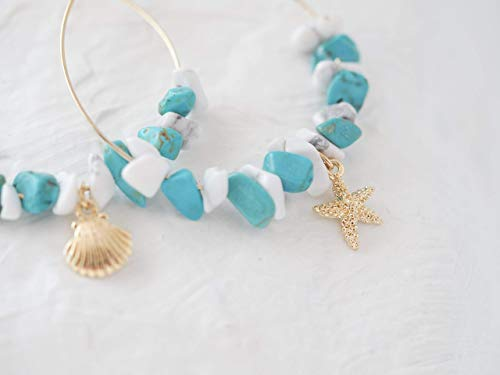 Starfish Shell Beach Hoop Earrings Mixed Simulated Turquoise and Simulated -