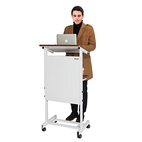 (Bonnlo Mobile Stand Up Lectern Podium with Wheels, Portable Heavy Duty Desk, Height Adjustable Church Pulpit or Ceremony, Classroom Lecture Speech Teach Platform, Walnut Tabletop and White Steel Frame)