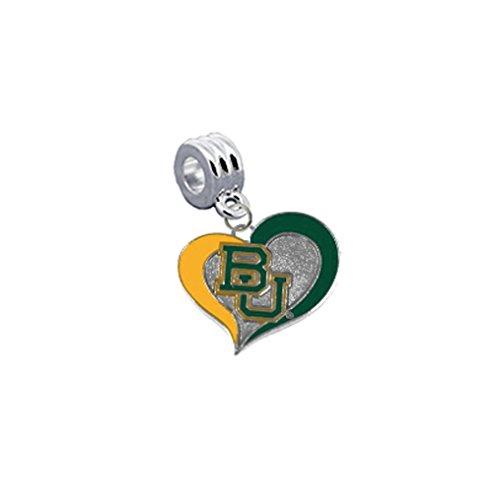 Baylor Bears Swirl Heart Universal European Bracelet Charm Fits Pandora, Troll, Biagi, Chamilia & ()