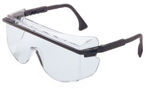 10 Pack UVEX S2500C Astro OTG (Over The Glass) 3001 Safety Glasses with Black Frame with anti-Fog Clear Lens