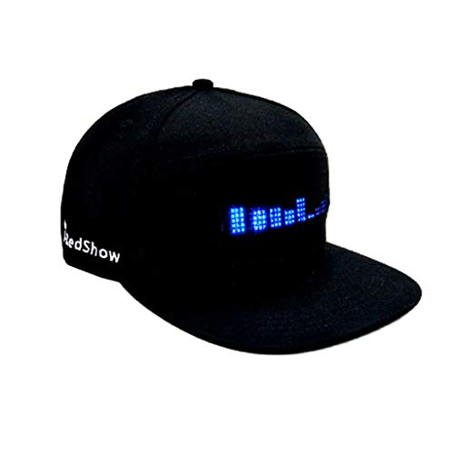 VICCKI Fashion Cap LED Cool Hat with Screen Light Waterproof Smartphone Controlled Black