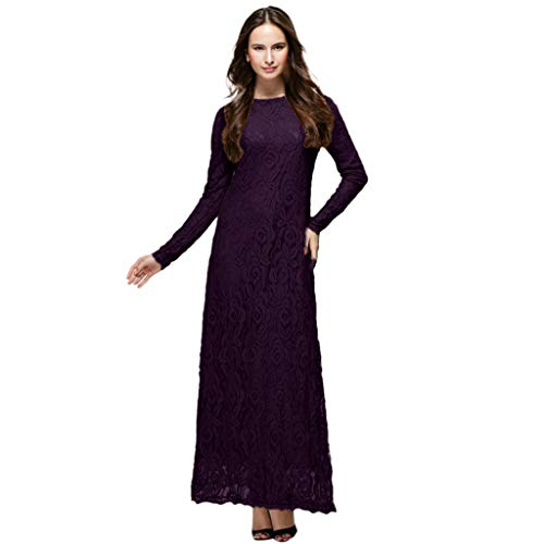 (Tootu Women Dress Slimming Long Dress Lady Lace Double Layer Long Muslim)