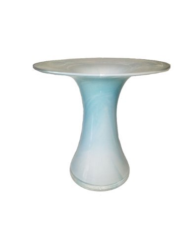 (Waisted Mouth Blown Vase of Glass Turquois White Marbled Height Approx 23 Cm Oberstdorfer)