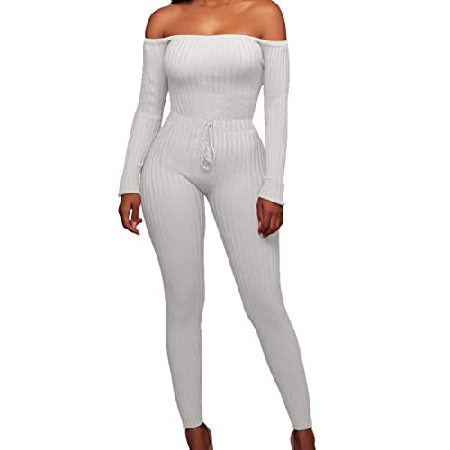 dab68f5d8 Women Fashion Fancy Off Shoulder Long Sleeve Sexy Bodycon Hip Rompers  Jumpsuit