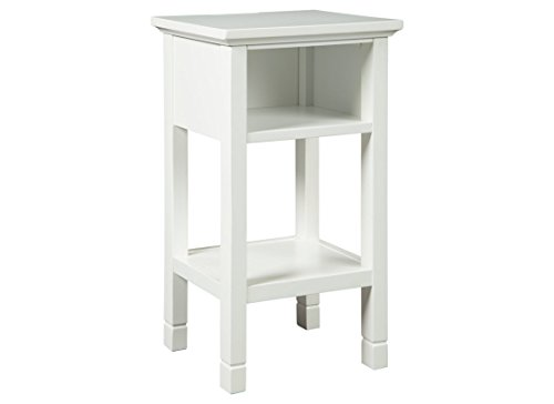 Signature Design by Ashley - Marnville Accent Table - With USB Hook-Up - Contemporary - White (Nightstand 14 Inch)