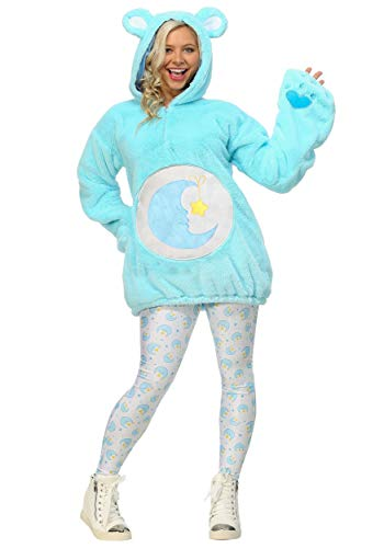 Care Bears Deluxe Bedtime Bear Hoodie Women's Costume Large Blue -