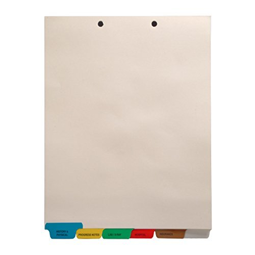Stock Medical Chart Divider Sets, Bottom Tabs, 1/6th Cut (65 Sets of 6 Tabs) - (4 Boxes)
