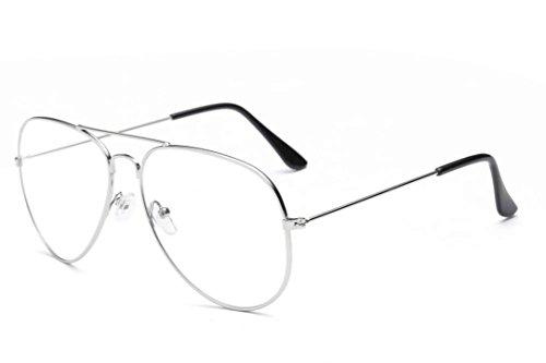 Qisc Classic Retro Men's Or Women's Metal Frame Aviator Clear Lens Round Circle Eye Glasses - Eyeglass Size Chart
