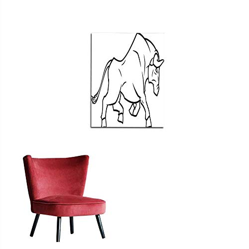 "longbuyer Wall Sticker Decals Angry Bull Running Mural 32""x48"""