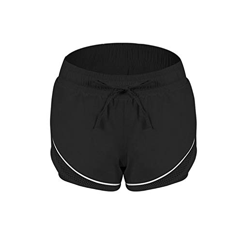 - New YLE Women Quick Dry Double Layers Sports Shorts Fits Gym Breathable Running Shorts,Black,L