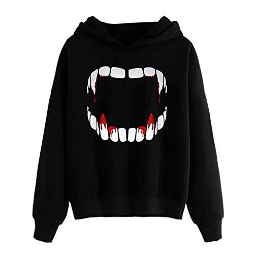 Sweatshirt for Women Hoodies, BXzhiri Womens Halloween Vampire Horror Nice Long Sleeve Sweatshirt Hooded Pullover Blouse (Jacobs Marc Jacket Men Leather)