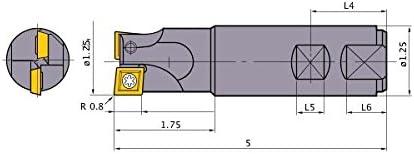 1.250 Fixing Part Depth 5 Length Right Hand Mitsubishi Materials ECMPR202W20 ECMP Series Multi Functional Milling Cutter 2 Teeth