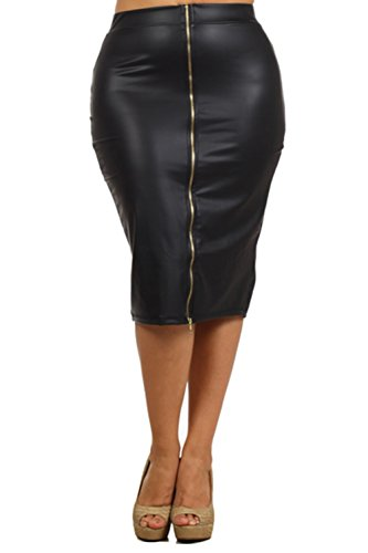 Bubble B Women's Plus Size Faux Leather Front Zipper Midi Skirt Solid Black 1X