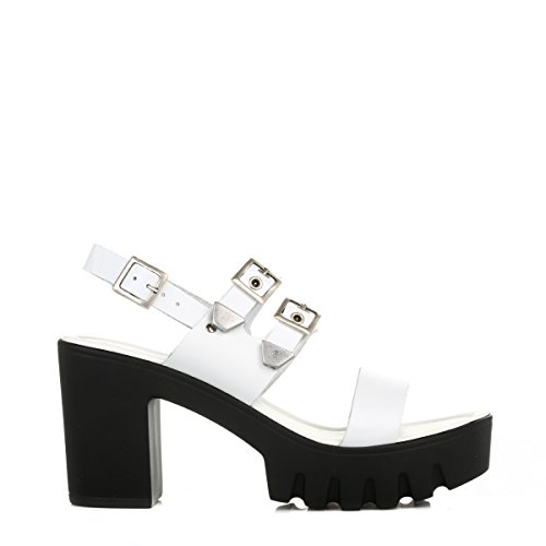 Sandals 4ever Young White White Young Womens 4ever Leather Sandals 4ever Chunky Young Womens Womens Leather Chunky WqwCq1x
