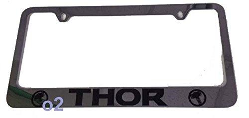 - Auto Car Thor Text Chrome License Plate Frame + Caps