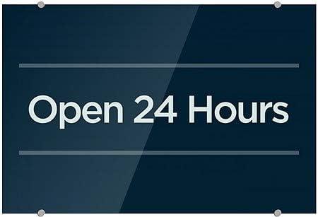Basic Navy Premium Acrylic Sign Open 24 Hours 18x12 CGSignLab 5-Pack
