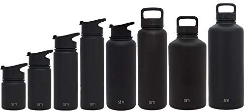 Simple Modern 32oz Summit Water Bottle + Extra Lid - Vacuum Insulated Stainless Steel Wide Mouth Liter Hydro Travel Mug - Powder Coated Sealed Flask - Midnight Black