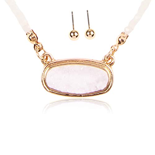 RIAH FASHION Acrylic Faux Druzy Jewel Stone Hexagon Oval Pendant Necklace - Delicate Chain/Sparkly Crystal Beaded Strand (Medium Oval Crystal Bead - White/Gold)