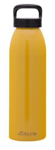 Liberty Bottleworks Straight Up Aluminum Water Bottle, Made in USA, 32oz, Saffron, Standard Cap