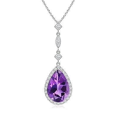 Angara Pear Shaped Amethyst Teardrop Necklace in Platinum LiquHGamI