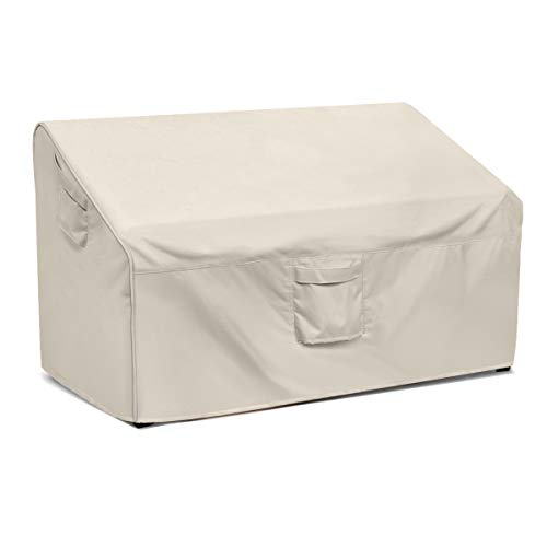 Honest Patio Loveseat Cover, 100% Waterproof Outdoor Sofa Cover,Durable Patio Bench Cover, Lawn Patio Furniture Covers with Air Vent (Medium,White)