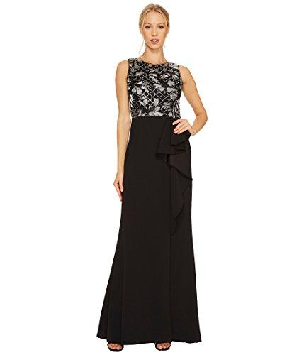 礼儀想起重々しい[アドリアナパペル] Adrianna Papell レディース Sleeveless Long Crepe Gown with Embroidered Bodice and Cascade Skirt ドレス [並行輸入品]