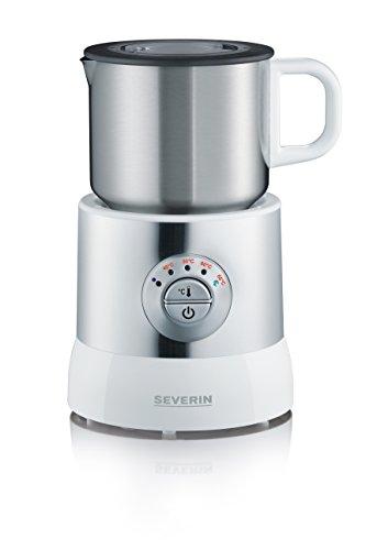 Severin SM 9685 Milchaufschäumer (500 Watt, Induktion, 700 ml, kaltes und warmes Aufschäumen, 4 Temperaturstufen) Edelstahl/weiß