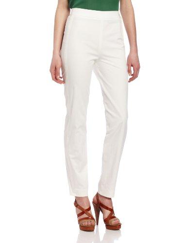 Magaschoni Women's Tuxedo Stripe Stretch Pant, White, 2
