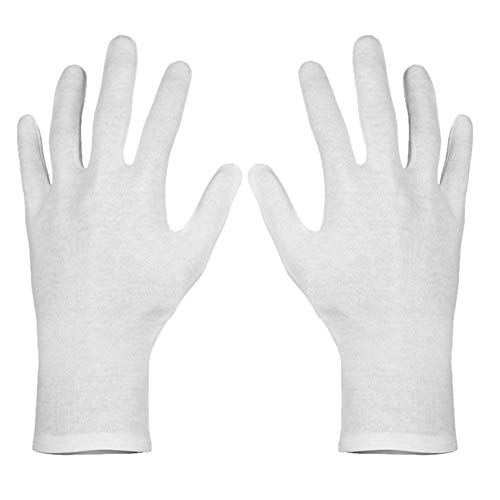 (Paxcoo 6 Pairs XL White Cotton Gloves for Dry Hand Moisturizing Cosmetic Eczema Hand Spa and Coin Jewelry Inspection)