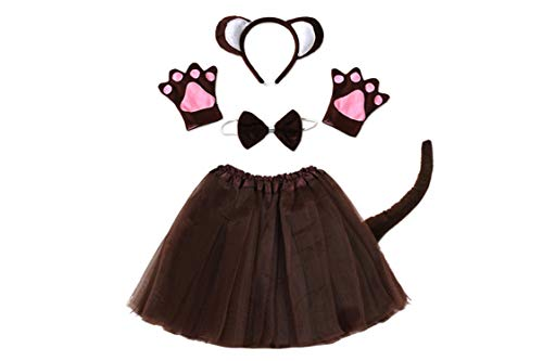 Halloween Party cmonkey Costume Headband Clothes Shoes Tail Tutu Skirt Gloves Set,Style 1,One -