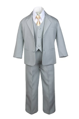 Unotux 6pc Boy Gray Suit with Satin Light Champagne Necktie Outfits Baby to Teen (4T)
