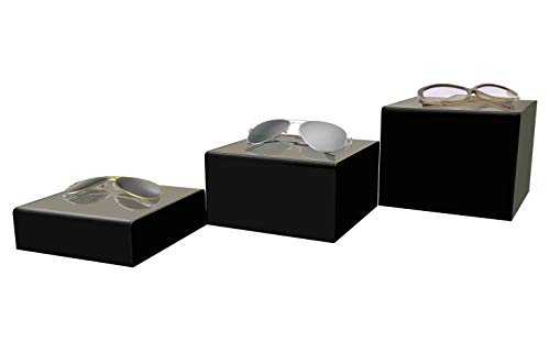 Marketing Holders Cube Display Nesting Risers Showcase Collectables Pedestald for Trinkets Figurines Trophy Dolls Hollow Bottoms Acrylic Black Pack of 3 by Marketing Holders (Image #2)