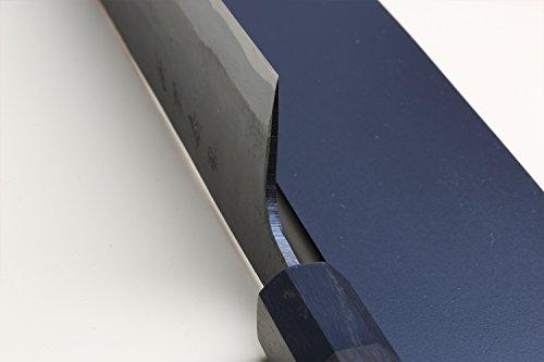 Yoshihiro Mizu Yaki Blue High Carbon Steel Super Kurouchi Kiritsuke Multipurpose Chef Knife (8.25 In) with Nuri Saya Cover by Yoshihiro (Image #4)