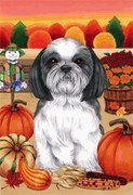 Shih Tzu Black/White by Tomoyo Pitcher, Autumn Themed Dog Breed Flags 28 x 40