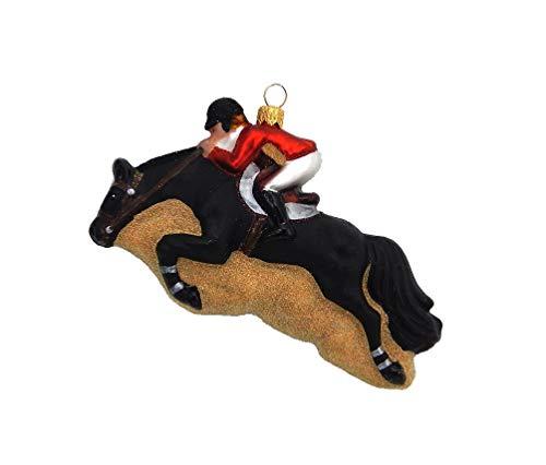 Horse Jumping - Black - Polish Blown Glass Ornament