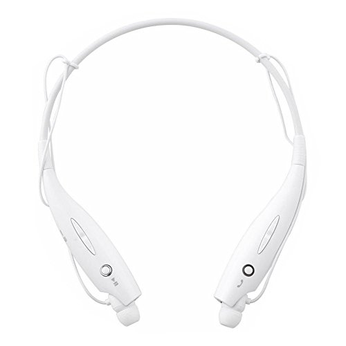Wireless Bluetooth Sports Headset, with Stereo Vibration Neckband Style Earphone Headphone for Cellphones iPhone, Nokia, HTC, Samsung, LG, Moto, PC, iPad, PSP Bluetooth Devices (White)