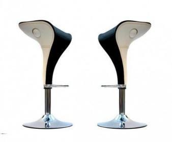 Coppia 2 sgabelli bicolore bianco nero ecopelle per cucina bar