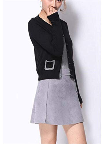 Maglia Pullover Breasted Moda Vita Single Coat Maniche Casual Elegante Giacca Primaverile Comodo A Donna Corto Lunghe Autunno Alta Giacche Ragazza Schwarz Outwear w6qUPXn