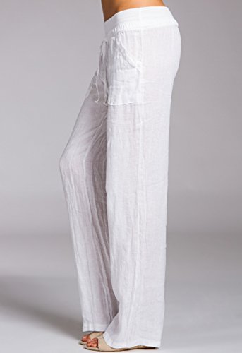 Blanco Largos Mujer Caspar KHS025 Corto Holgado Lino Pantalones para de qwzwFx6B