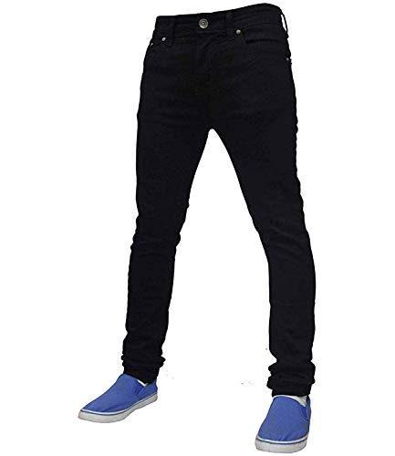 True Face Mens Jeans Skinny Denim Pants Stretch Fit Trouser Zip Fly Elasticated Cotton Bottoms Casual Wear 5 Pockets All…